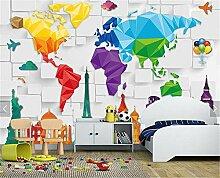 Murale Papier peint coloré Carte du monde