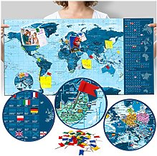 murando Carte du Monde 90x45 cm Bleu Carte du