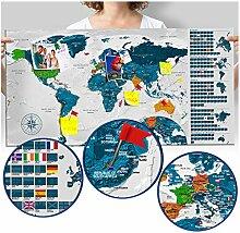 murando Carte du Monde 90x45 cm Gris Carte du