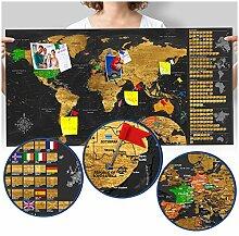 murando Carte du Monde 90x45 cm Noir Carte du