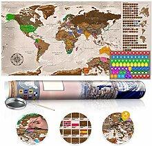 murando Carte du Monde Decorative a gratter XXL