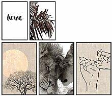 murando Set de 5 Affiches avec Cadre Noir Tableaux