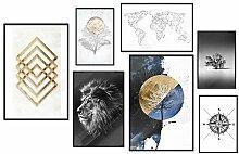 murando Set de 7 Affiches avec Cadre Noir Tableaux