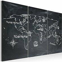 murando Tableau Acoustique Carte du Monde 90x60 cm