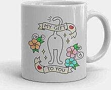 My To You Cat Mug Funny Cat Butt Art Mug Colourful