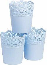 myBoxshop Lot de 3 pots de fleurs bleus Ø 16 cm