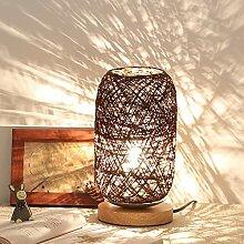 MYHJ Lampe de Chevet Abat-Jour en Bois Nordique,