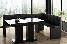MyStyleWood Banc d'angle Marta noir avec table