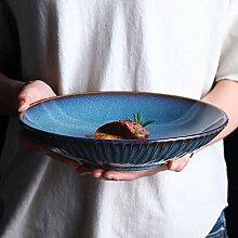 Mzxun Bol de style japonais Soup Bowl Rétro bleu