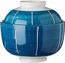 Mzxun Bol en céramique bol bleu bol avec