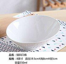 Mzxun Céramique Pure White Bowl Bowl Incliné