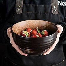 Mzxun Creative Bowl en céramique rétro profonde
