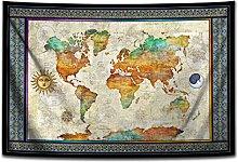 N\A Carte du Monde Soleil Lune Tapisserie
