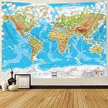 N\A Carte du Monde Tapisserie Bleu Terre