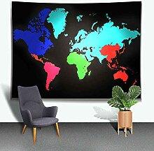 N\A Carte du Monde Tapisserie Grande Peinture