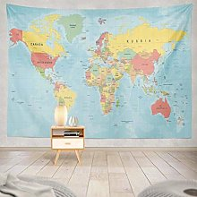 N\A Carte du Monde Tapisserie, tenture Murale