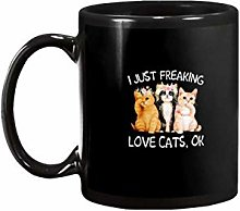 N\A I Just Freaking Cats and Flowers Love Catsmug