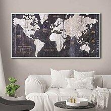 N\A Impression sur Toile Carte du Monde Images