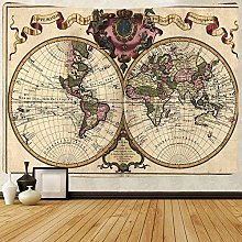 N\A Rétro Carte du Monde Tapisserie Vintage Carte