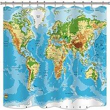 N \ A Rideaux de douche motif carte du monde