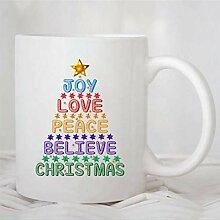 N\A Tasse à café, Joie Amour Paix Croire noël