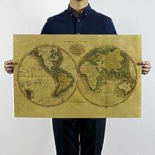 N\C Carte du monde vintage vintage - Papier peint