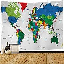 NA Tapisserie Murale Pays Bleu USA Carte du Monde