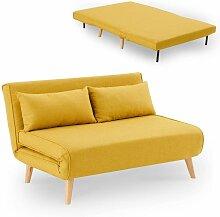 NAMIA - Banquette convertible en tissu jaune 2