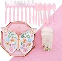 Nappe de couleur unie à motif papillon rose,