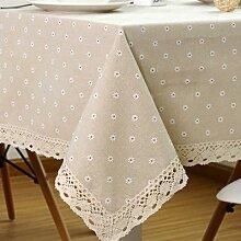Nappe de Table à manger en coton avec dentelle,
