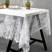 Nappe de Table rectangulaire en dentelle blanche,