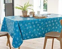 Nappe ovale bleu canard en à motifs 150x230