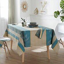 Nappe Palmier Lagon coton enduit motifs feuilles