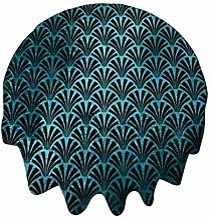 Nappe ronde 91,4 cm Art Déco Océan Bleu Noir Or