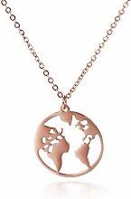 NC188 Collier Carte du Monde Pendentif Colliers