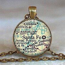 NC188 Collier dôme en Verre Collier Carte du