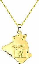 NC188 Collier étoile algérie Carte Pendentif et