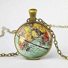 NC188 Collier Terre Carte du Monde Unique Terre