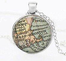 NC188 Collier Vintage Terre Carte du Monde