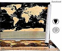 Neuf - Carte du monde à gratter détaillée avec