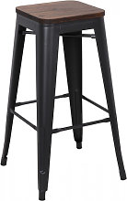 NEVADA - Tabouret de bar en acier gris et bois