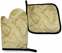 Nifdhkw Ancienne Carte du Monde FOven Mitts Gants
