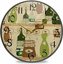NIUMM 12 Pouces Horloge Murale Ronde silencieuse