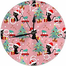 NIUMM Horloge Murale Ronde d'arbre à Chat de
