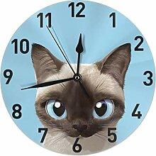 NIUMM Motif de Chat Siamois Mignon Horloge Murale