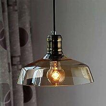 NIUYAO Lampe Suspension Lustre Bol en Métal&Verre
