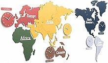 NMDD Horloges murales de Carte du Monde en Bois