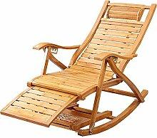 no brand Chaise Longue Chaise à Bascule en Bambou