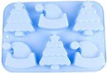 Noël 6 grilles moule à gâteau en silicone