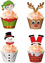 Noël Cupcake Toppers et Wrappers 72 Pcs Xmas